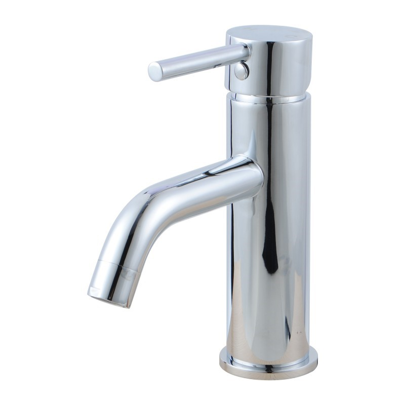 Round Chrome Short Basin Mixer Tap Crooked Water Spout