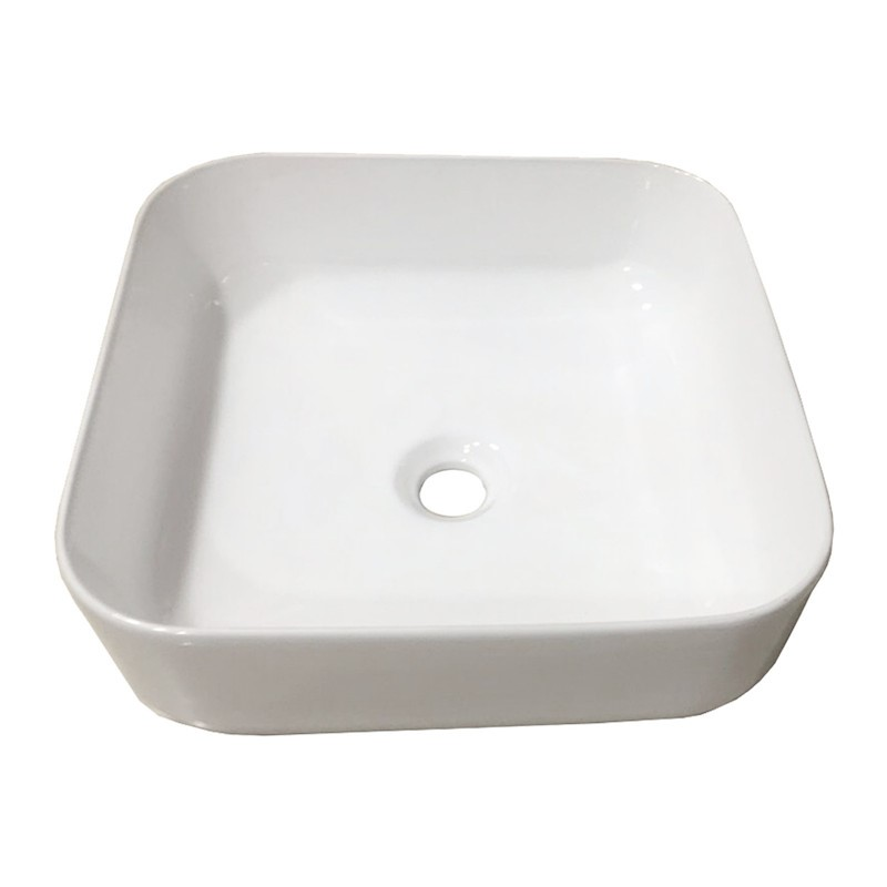 385 x 385 x 140mm Bathroom Square Above Counter White Ceramic Wash Basin