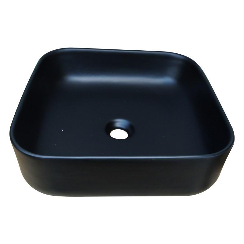 385x385x140mm Bathroom Square Above Counter Matt Black Ceramic Wash Basin