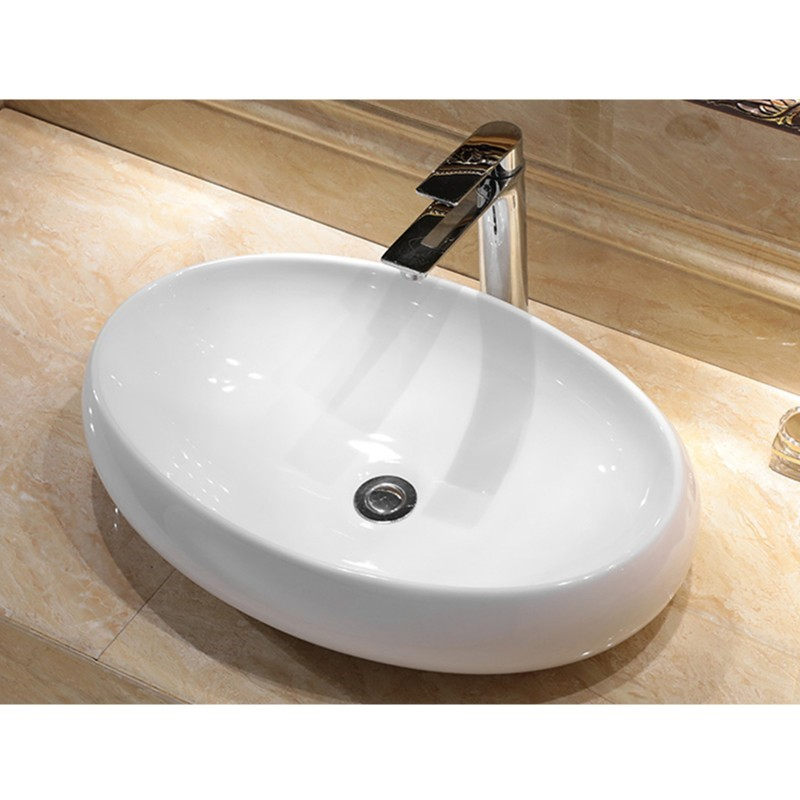 600 x 400 x 155mm Bathroom Oval Above Counter White Ceramic Wash Basin