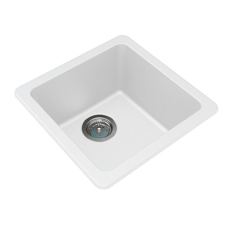 White Granite Quartz Stone Sink Single Top/Under Mount 422 x 422 x 203mm