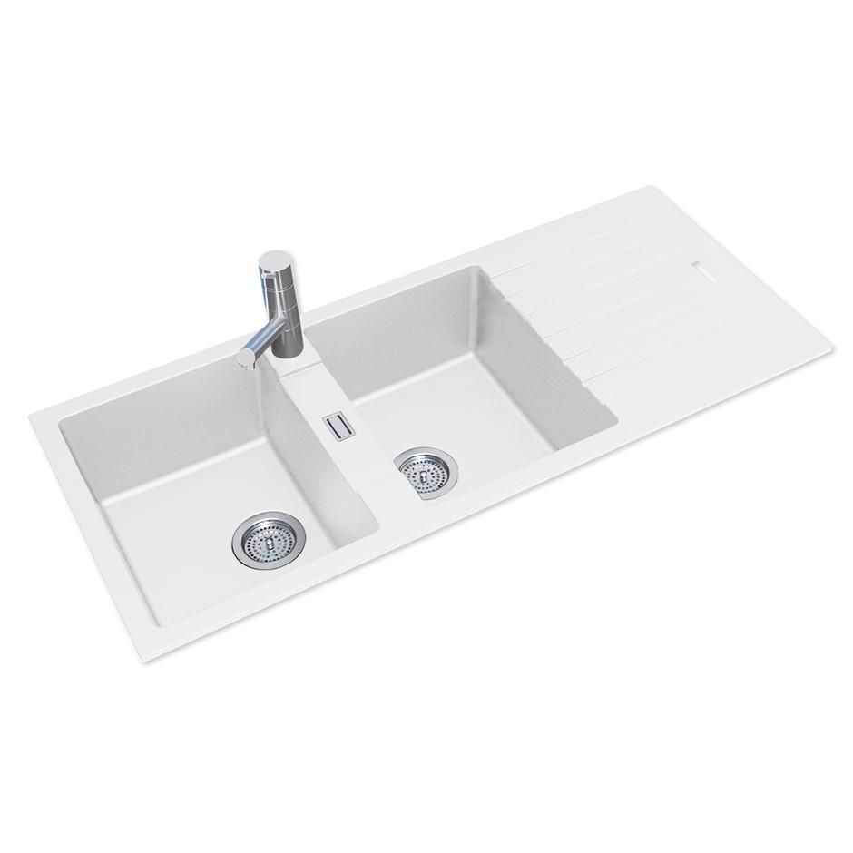 1160 x 500 x 200mm White Granite Quartz Stone Kitchen Sink Double Bowls