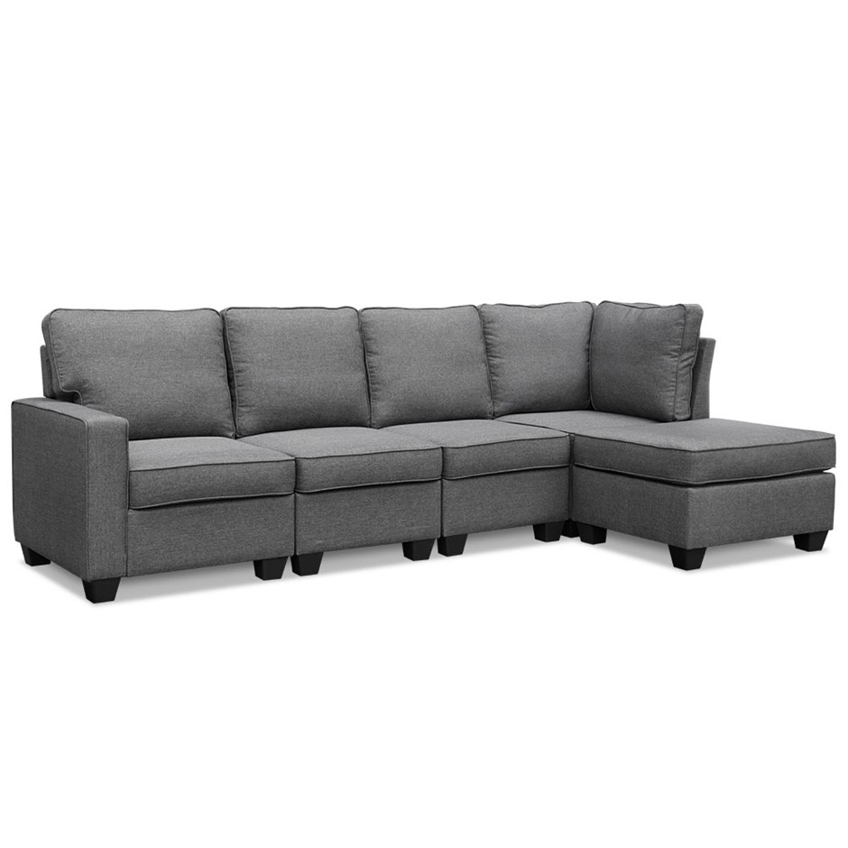 Artiss 5 seater sofa bed lounge chair chaise suite couch fabric dark grey
