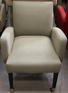 qty of 4 green fabric tub chairs original manufactured by moran