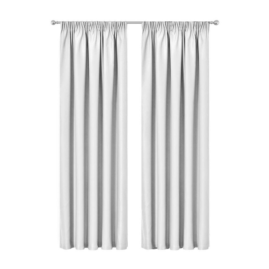 Artqueen 2x Blockout Curtains Pinch Blockout Room Darkening 140x213cm WH