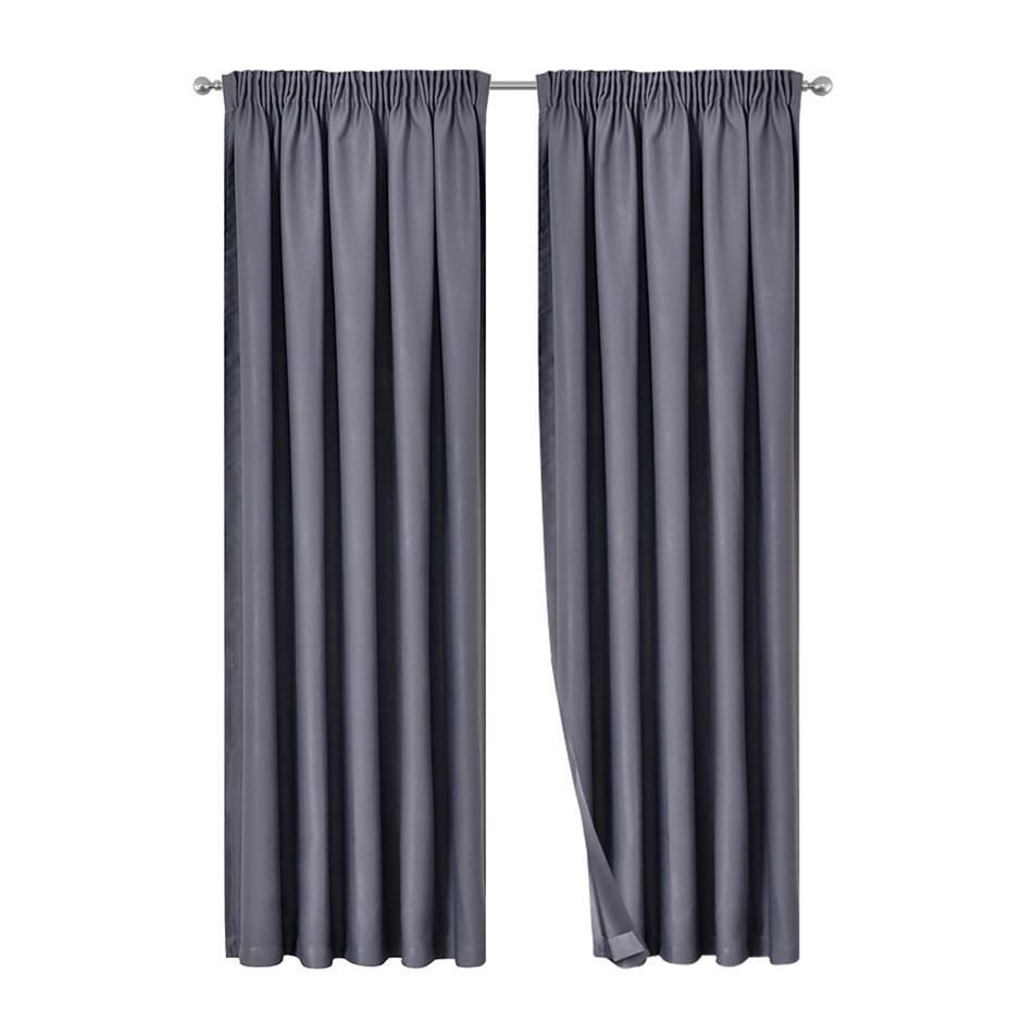Artqueen 2x Pinch Pleat Blockout Curtains Darkening Blackout 240x213cm Grey