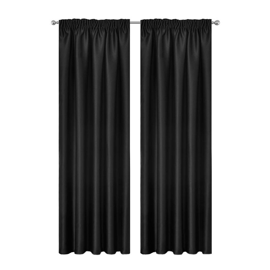 Artqueen 2x Pinch Pleat Blockout Curtains Darkening Drapes 140x230cm Black