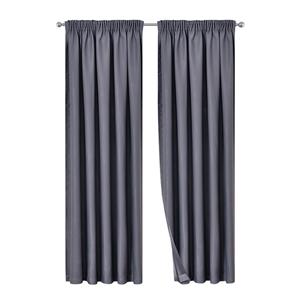 Artqueen 2x Pinch Blockout Curtains Blac