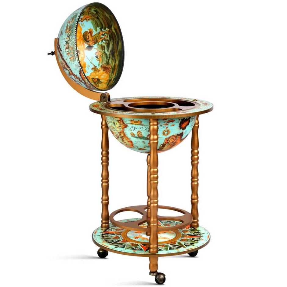 Artiss Antique Globe Trolley Wine Bar Cabinet Alcohol Drinks Serving Cart