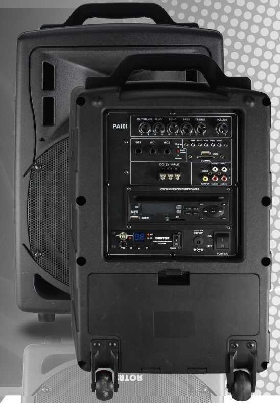 Orator Audio PA101 Portable PA with DVD, UHF Mic., USB/SD & Bluetooth