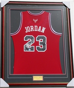 91d6fef6787 Michael Jordan Signed & Framed Chicago Bulls Jersey - For The ...
