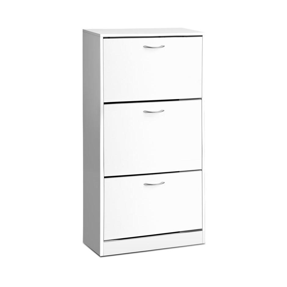Artiss 3 Tier Shoe Cabinet - White