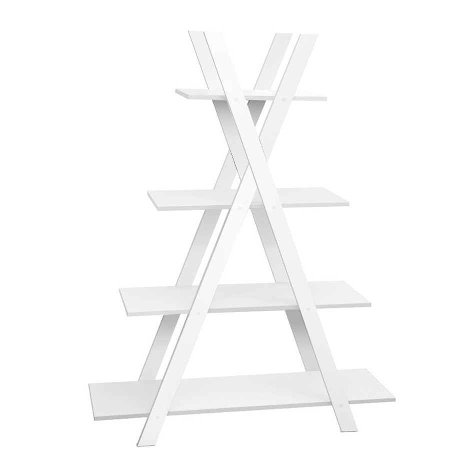 Artiss 4 tier wooden ladder shelf stand storage display rack white