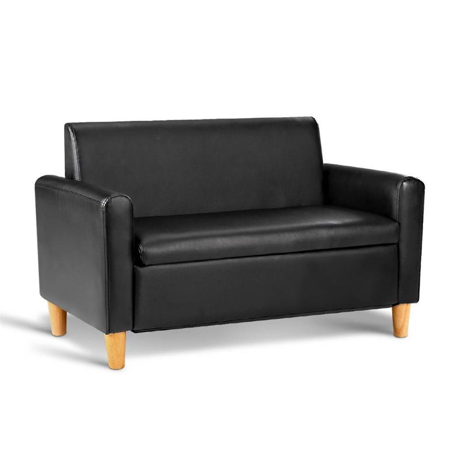 Keezi Storage Kids Sofa Children lounge Chair Couch PU Leather Padded Black