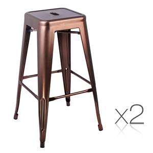 Artiss Set of 2 Metal Backless Stools -