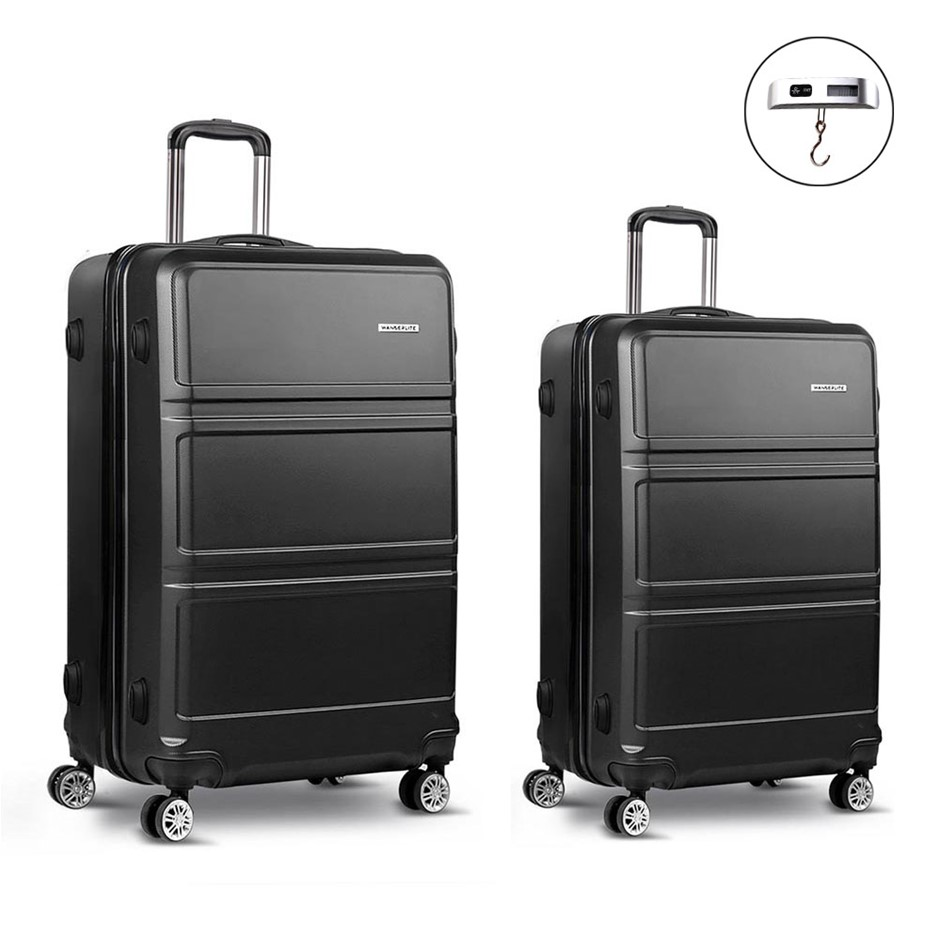 Wanderlite 2 Piece Lightweight Luggage Set - Black
