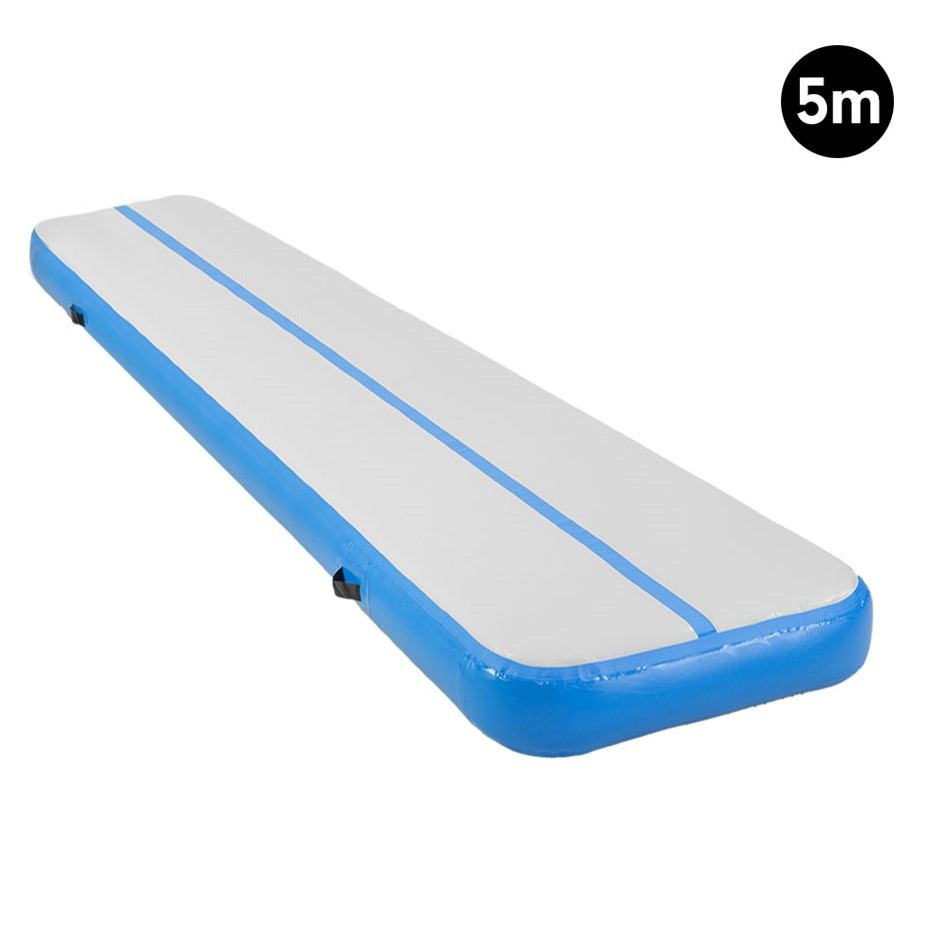 5m Inflatable Yoga Mat Gym Exercise 20cm Air Track Tumbling - Blue