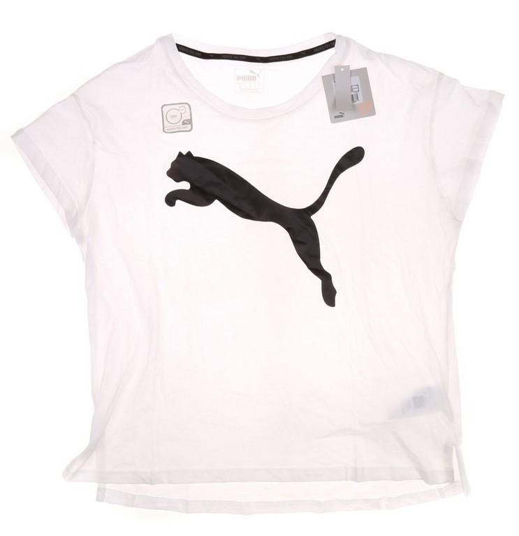 Women`s PUMA Dive Cat Log Active T-Shirt, Size M, White. Buyers Note - Disc