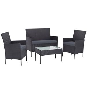 Gardeon Outdoor Rattan Set Chair Table G