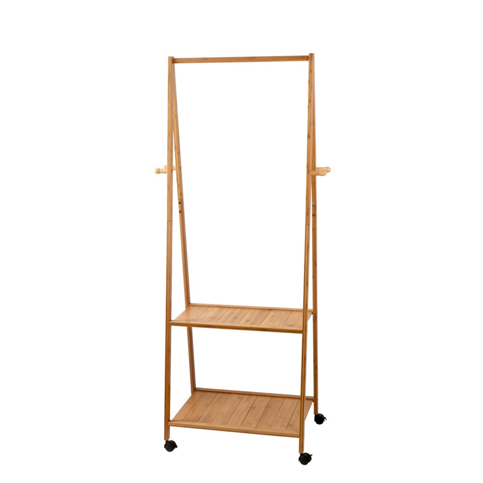 Artiss Portable Bamboo Double Shelf Rail Clothes Hanger Storage Rack Wooden