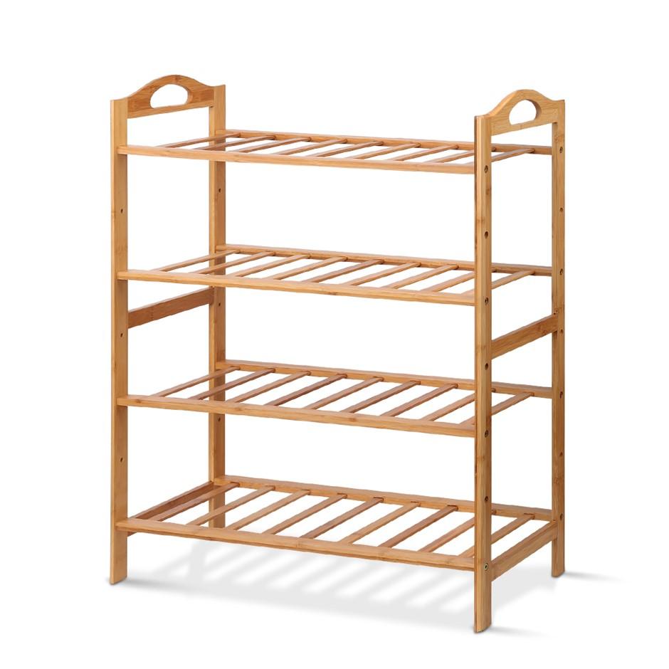 Artiss 4 Tiers Bamboo Shoe Rack Storage Wooden Shelf Stand Shelves