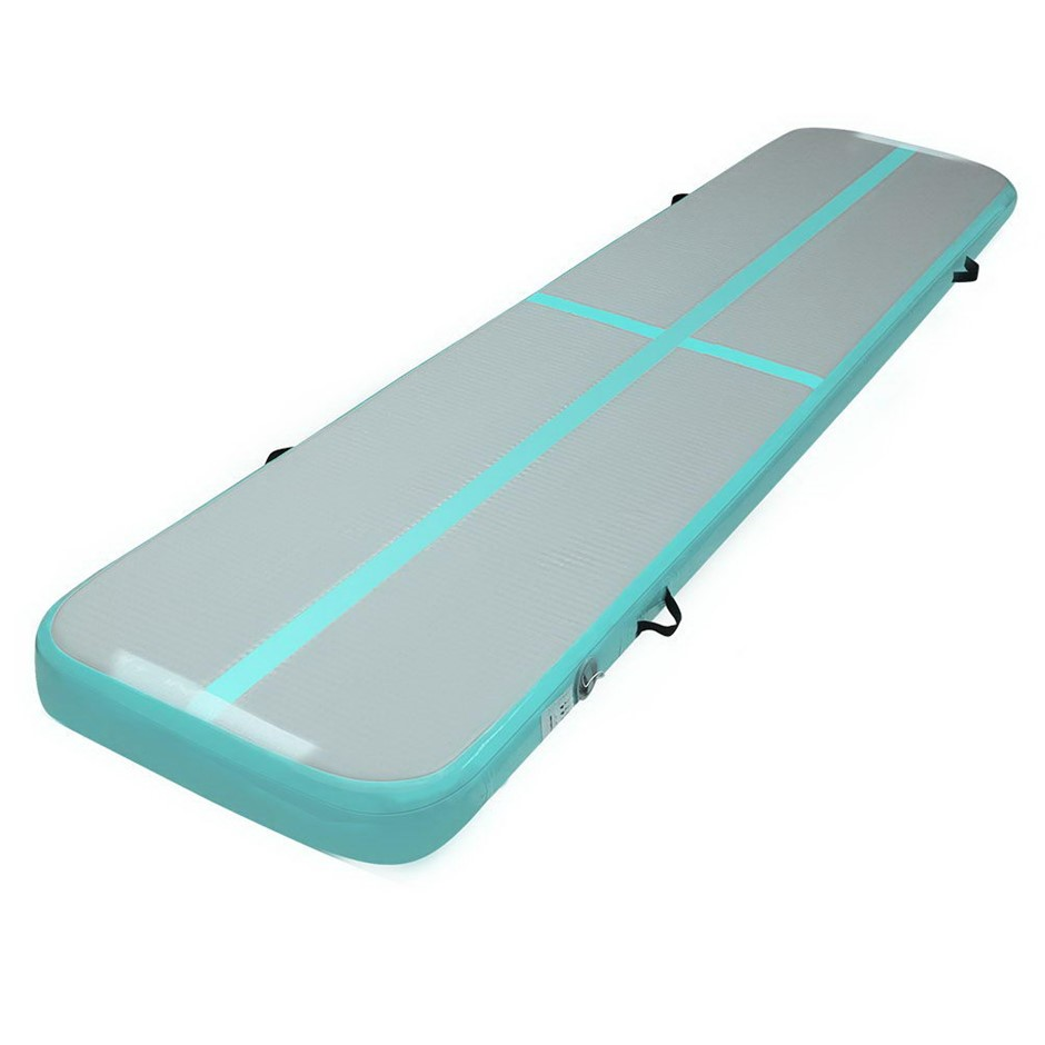Everfit Inflatable Air Track Mat Gymnastic Tumbling 3m x 50cm - Mint & Grey