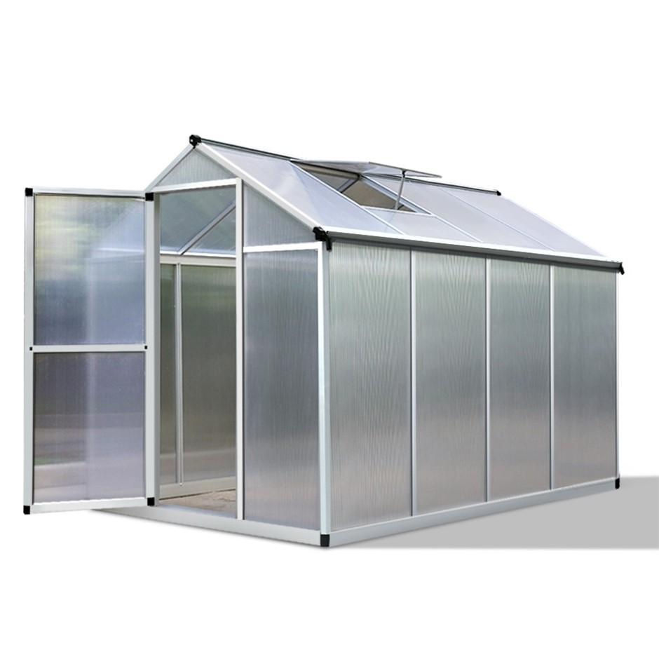 Green Fingers 2.4 x 1.9m Polycarbonate Aluminium Greenhouse