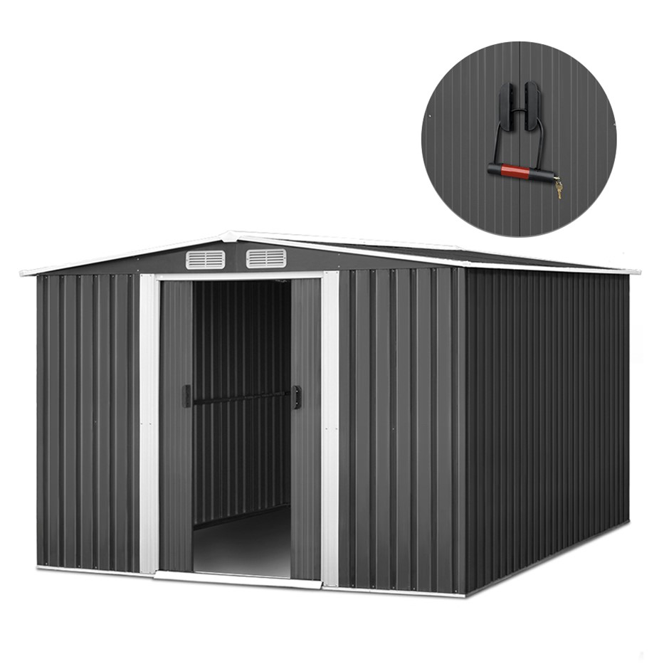 Giantz 2.57 x 3.12m Steel Base Garden Shed with Roof - Grey