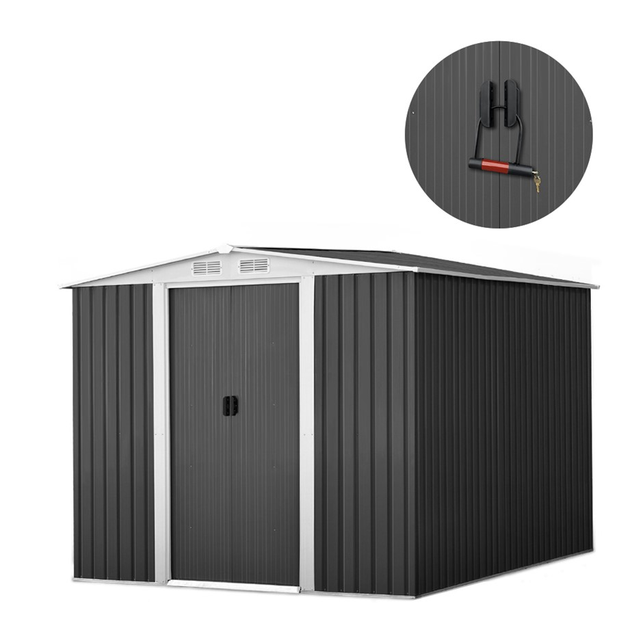 2.57x2x2M Garden Sheds Tool Storage Shed Workshop Shelter Metal w/ Roof