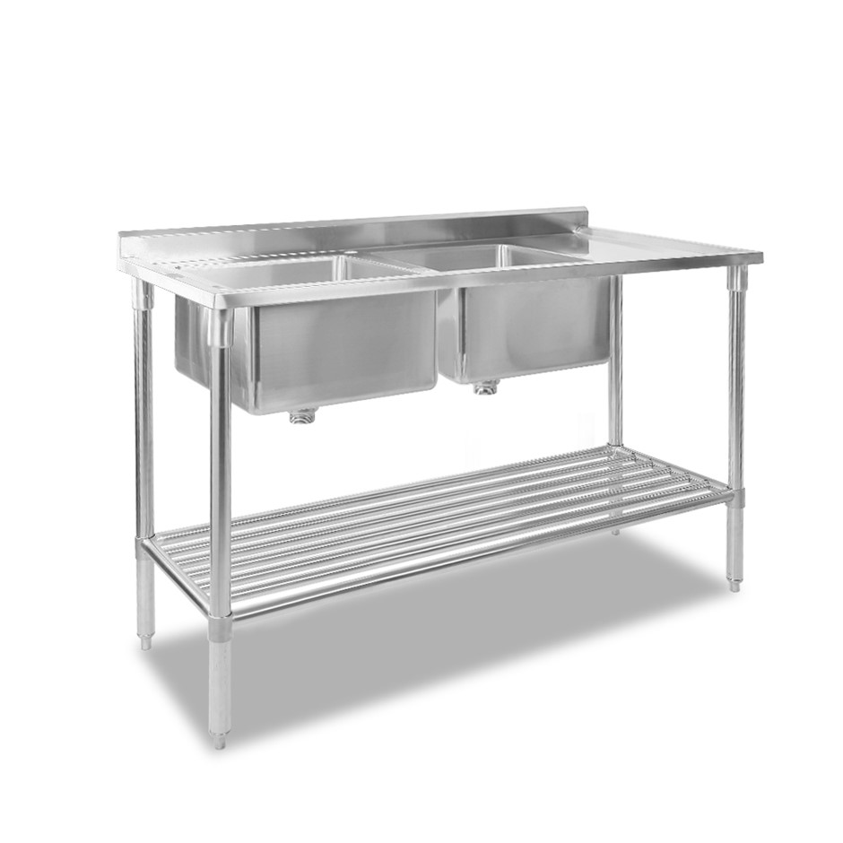 Cefito Commercial Stainless Steel Kitchen Sink Bench 150x60cm