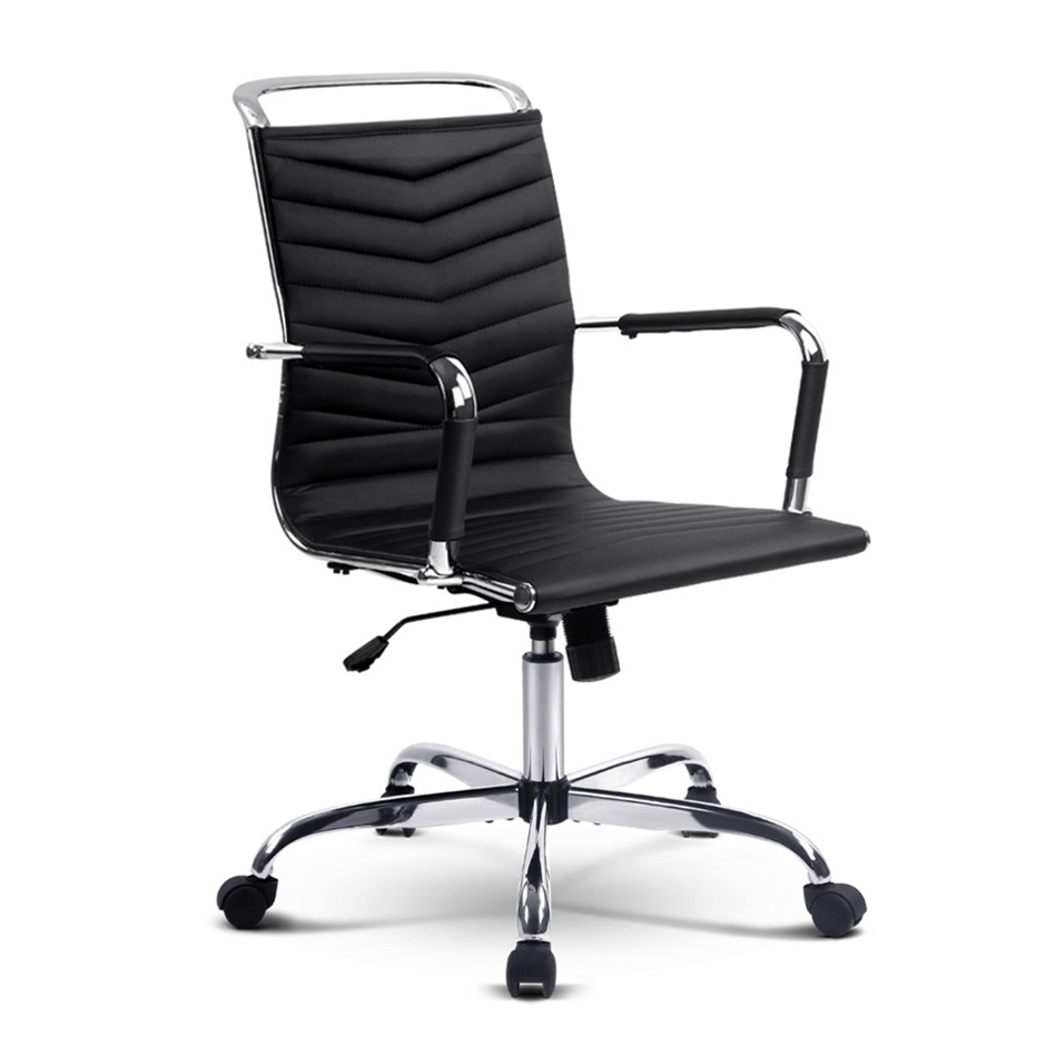 Eames Replica PU Leather Office Chair Executive Work Computer Seating Black