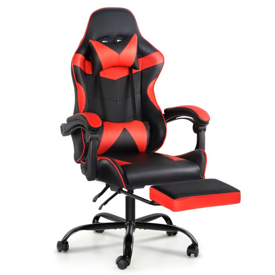 Artiss Gaming Office Chairs Racing Recliner Racer Footrest Red