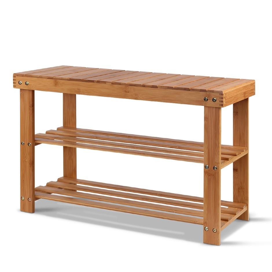 Bamboo Wooden Shoe Rack Organiser Cabinet Holder Shelf Natural
