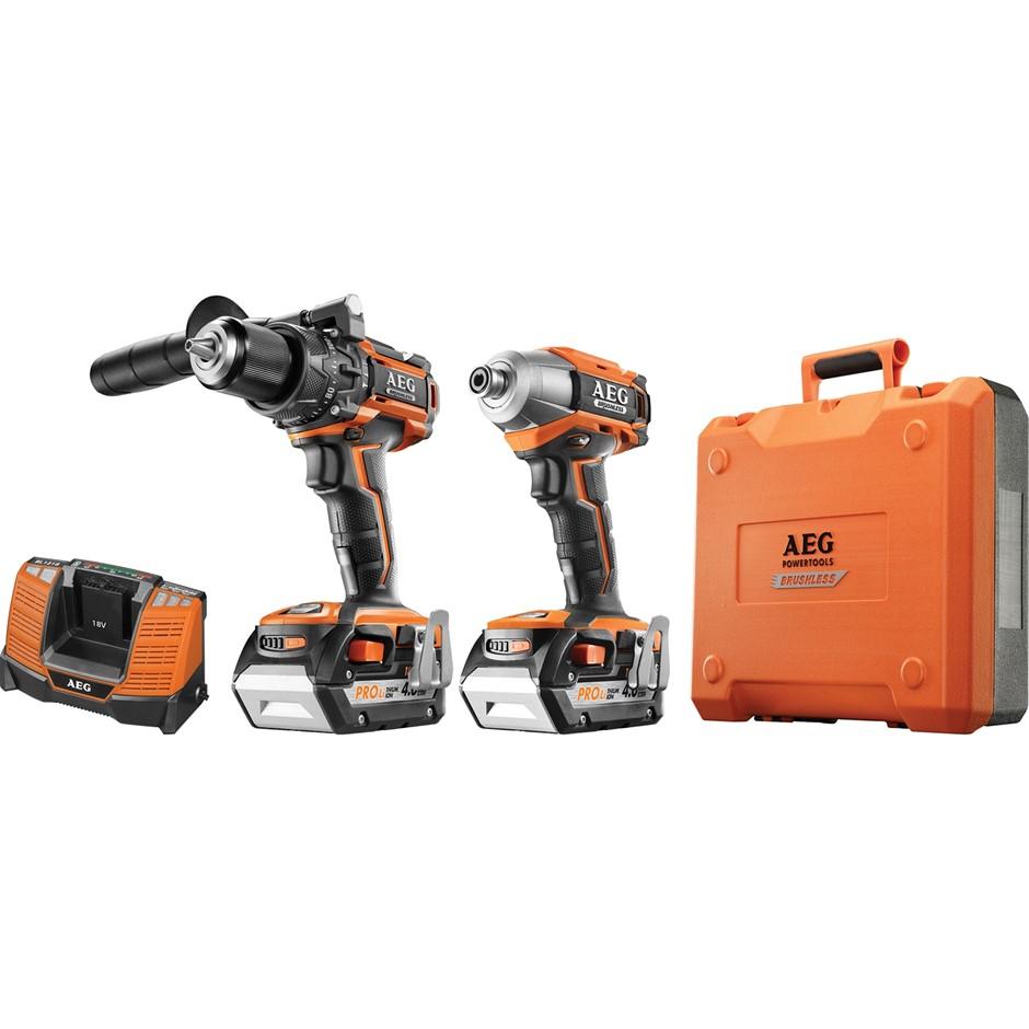 AEG 18V Brushless 2pc Combo Drill Kit, Impact & Drill Driver c/w 2 x 50.0Ah