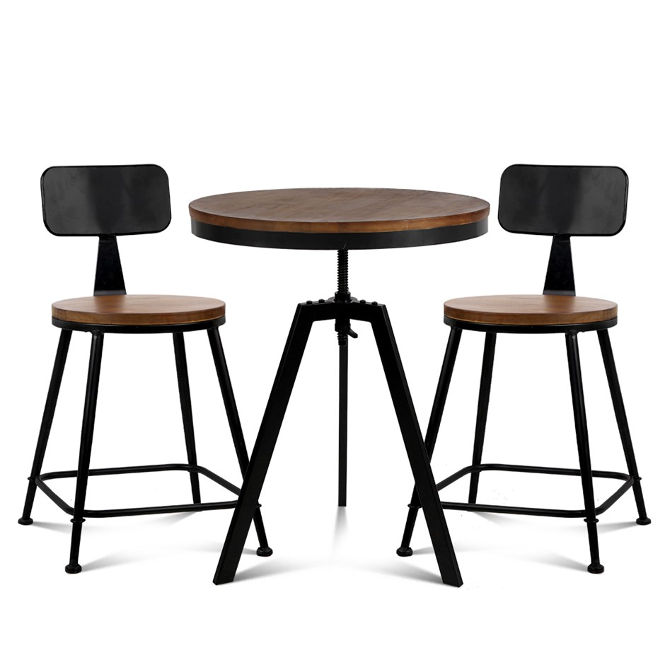 Artiss Bar Table and Stools set Vintage Retro Elm Wood Metal Brown