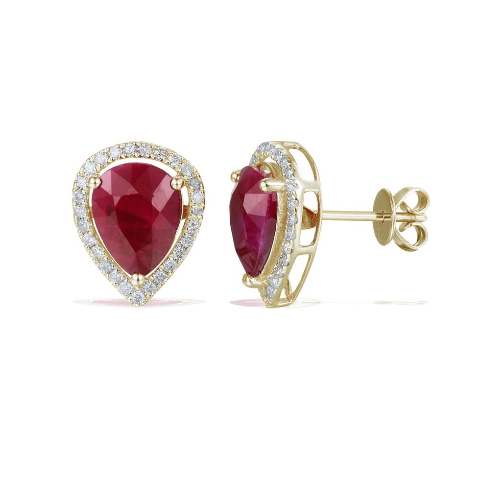 9ct Yellow Gold, 4.23ct Ruby and Diamond Earrings