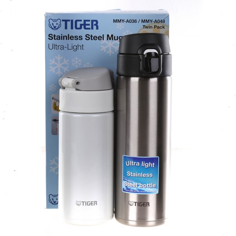 TIGER Twin Pack Stainless Steel Ultra Light Mugs 360ml & 480ml. Buyers Note