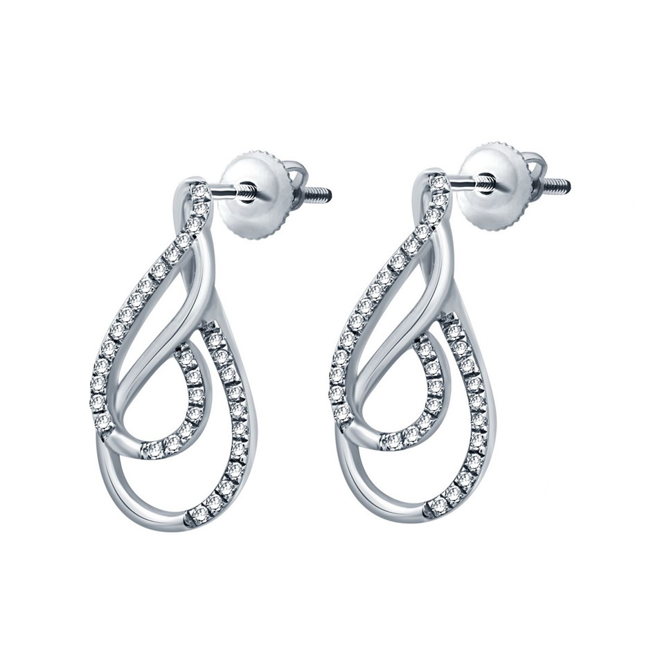 9ct White Gold, 0.12ct Diamond Earrings