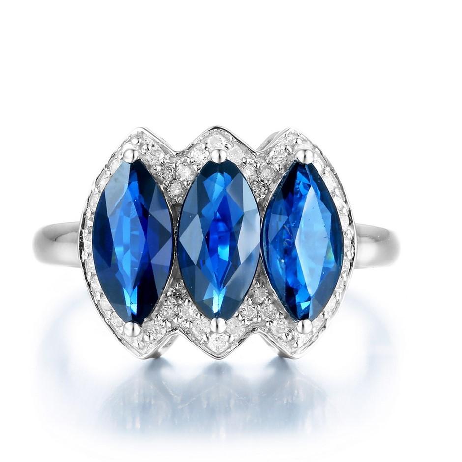 9ct White Gold, 2.95ct Blue Sapphire & Diamond Ring