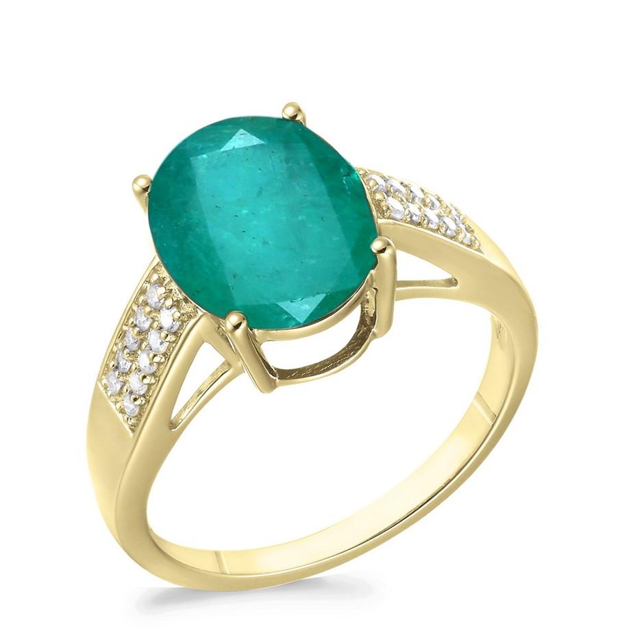9ct Yellow Gold, 4.07ct Emerald & Diamond Ring