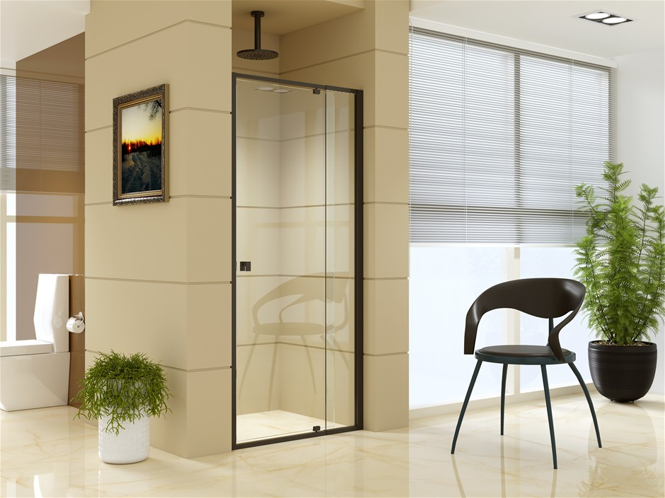 Adjustable Semi Frameless Shower Screen (82~90) x 195cm Safety Glass