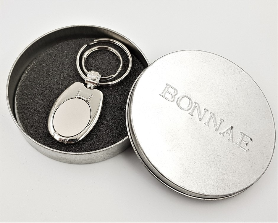 Mens Collection - Oval Key Ring With 2 Rings in Tin Box