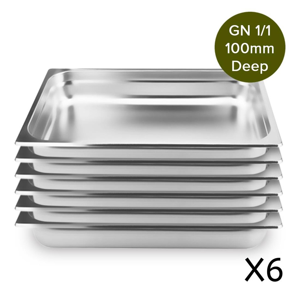 6 x Gastronorm GN Pan Full Size 1/1 GN Pan 100mm Deep Stainless Steel Tray