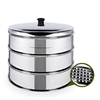SOGA 3 Tier 25cm Stainless Steal Steamers With Lid Work