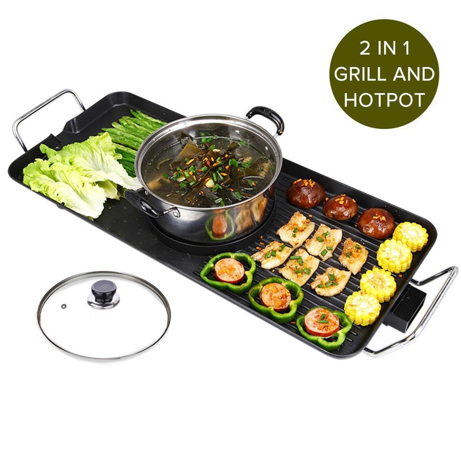 SOGA Electric Steamboat Asian Fondue Teppanyaki Hotpot Grill Plate