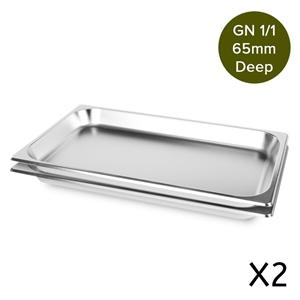 2 x SOGA Gastronorm GN Pan 1/1 65mm Deep