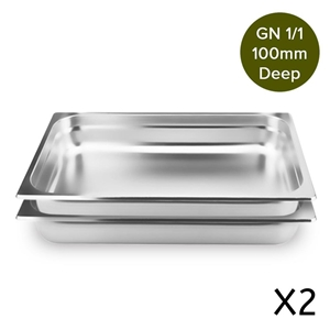 SOGA 2 x Gastronorm GN Pan 1/1 100mm Dee