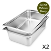SOGA 2 x Gastronorm GN Pan 150mm Deep Stainless Steel Tray