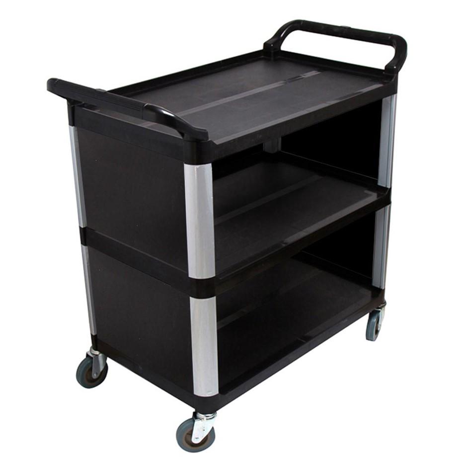 SOGA 3 Tier Covered Food Trolley Food Waste Cart Storage Mechanic Black