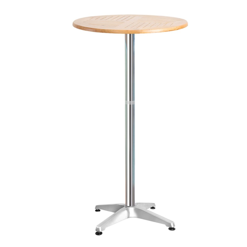Gardeon Outdoor Bar Table Aluminium Adjustable Wooden Table Cafe Round